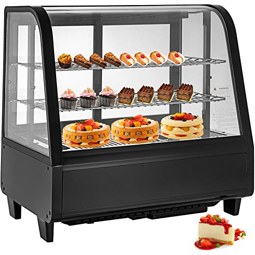 VBENLEM 3-1/2 cu ft Commercial Countertop Refrigerator 100L Bakery Dairy Display Cooler Case with Automatic Defrost LED Lighting Suit for Cake Roaster Shop Cafe Use