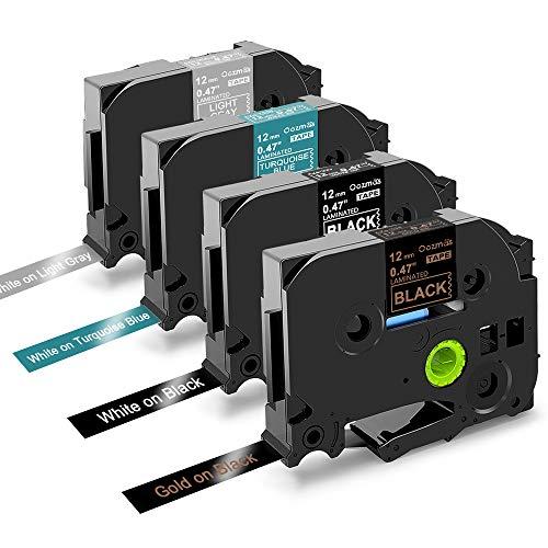 Nastri Oozmas Compatibile In sostituzione di Brother TZe Tape 12mm 0.47, Compatibile Brother P-touch H100R 1005 1010 1830VP 2030, TZe-334 TZe-335 TZe-T535 TZe-MGL35, confezione da 4