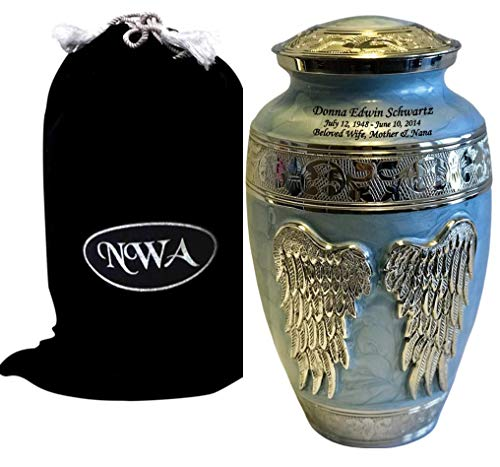 Blue Brass Large Angel Funeral Cremation Urn with Custom Engraving