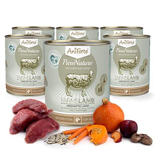 AniForte Hundefutter Nass Farms Lamb 6 x 800g – Nassfutter für Hunde, Frisches Lamm mit Gemüse & Früchten, hoher Fleischanteil, Natürliches Hundenassfutter mit Extra viel Fleisch, glutenfrei