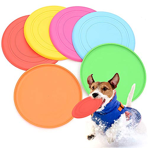 Gwolf Disco volador para perros, 6 disco volador, disco volador de silicona, juguete volador para perros, disco volador, platillo volador para mascotas, disco volador de silicona para perros voladores
