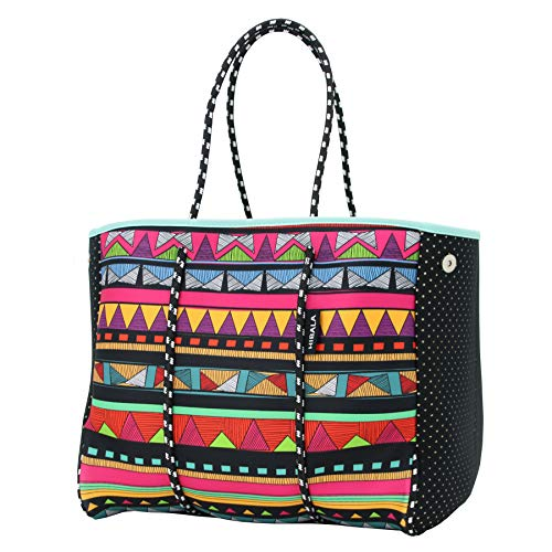 Hibala Neoprene Multipurpose Beach Bag,Gym/Travel/Pool Bag,Tote For Women&Men,with Wrap-Around Cushion Handle,Magnetic Snaps,Inner Zipper Pocket and Movable Board (Ethnic Style)