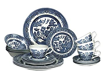 Churchill Blue Willow Plates Bowls Cups 20 Piece Dinnerware Set Made in England