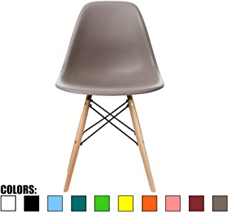 2xhome - Grey/Taupe - Modern Side Accent Chair Natural Wood Legs Eiffel Wire Armless Dining Room Chair No arm