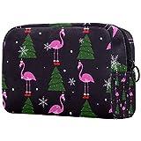 Kit de Maquillaje Neceser Makeup Bolso de Cosméticos Portable Organizador Maletín para Maquillaje Maleta de Makeup Profesional Copo de Nieve de Navidad Flamingo 18.5x7.5x13cm