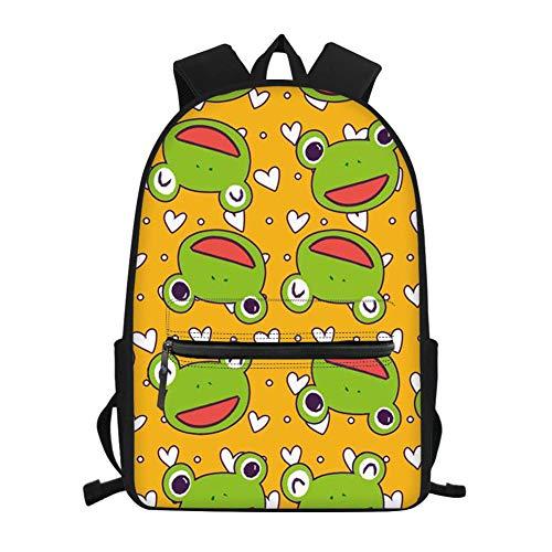 Nopersonality Mochilas escolares para niños y niñas para escuela primaria media y adolescente mochila de hombro ligera y duradera, rana (Amarillo) - Nopersonality