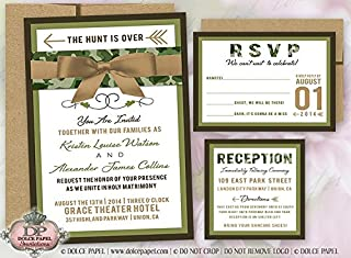 10 Modern Hunter Camo Wedding Invitations 5x7 with Belly Band and Ribbon