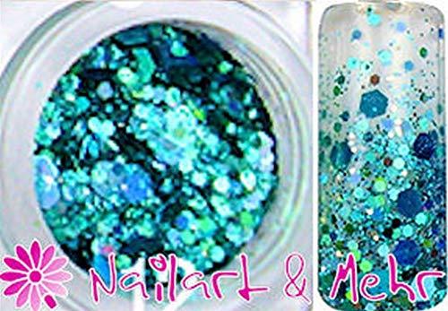1 döschen Multi glitzzzer, # mg – Mélange de 134 HOLO Turquoise – Argent