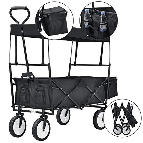 verstellbarer Griff strapazierf/ähiges PVC 360/° drehbar Handwagen Gummireifen schwarz Relaxdays Bollerwagen faltbar