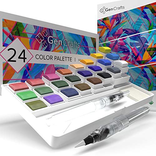 Watercolor Palette with Bonus Paper Pad by GenCrafts - Includes 24 Premium Colors - 2 Refillable Water Blending Brush Pens - No Mess Storage Case - 15 Sheets of Water Color Paper - Portable Painting