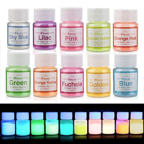 Wtrcsv Fluoreszierender Leuchtpuvler, Epoxidharz Leuchtpulver Mica Pulver, Farbe Pigment Farbpigmente für Epoxy Resin, Neon Farbpulver, 200g (10er×20g)