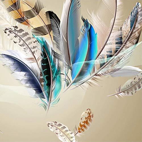 Msrahves fotomurales decorativos pared 3d modernos Colorido plumas moda sencillez. Fotomurales Decorativos Pared 3D Póster Sala de Estar Dormitorio TV Fondo Papel Pintado 3D Fotomurale 3D Tv Telón De