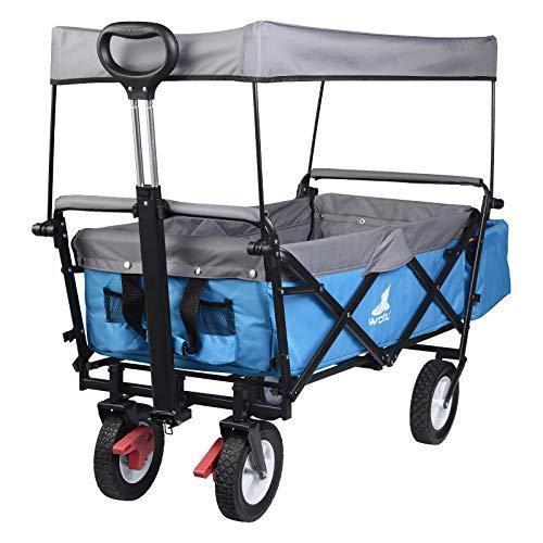 WOLTU Bollerwagen faltbar Handwagen Gartenwagen mit Dach, Rollen mit Bremse, Strandwagen mit Sonnenschutz, für den Garten Camping Kinder, 80 kg belastbar, Türkis, TW006tkg
