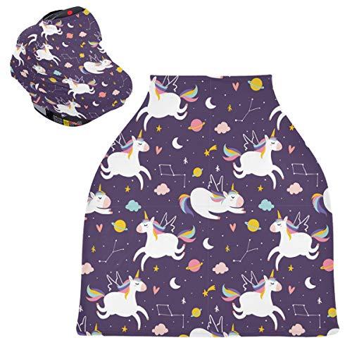 Sinestour Fundas para asiento de coche con diseño de unicornio, funda para silla alta, toldo multiusos para bebés y madres lactantes