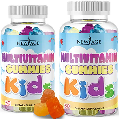 Daily Gummy Multivitamin for Kids - 2 Pack - Immune & Energy Support, Delicious Fresh Kids Complete Daily Multivitamin Essential Vitamins A, B, C, D, E, by New Age - 120 Gummies