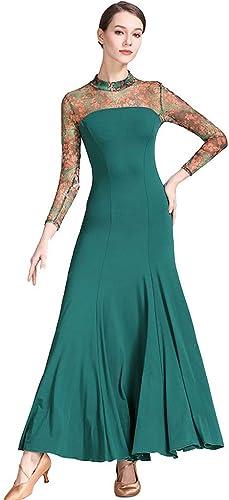 Robes De Salle De Bal pour Les Femmes Danse Impression Moderne Valse Tango Compétition Danse Costumes D'exaHommes De Danse Justaucorps (Couleur   Dark vert, Taille   S)