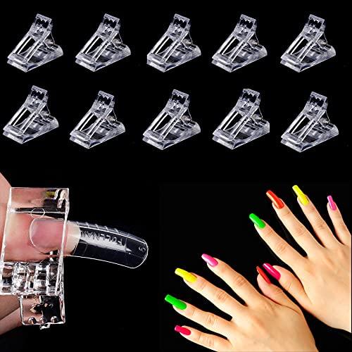 Ebanku set di 10PCS trasparente unghie clip Polygel rapida costruzione finger nail gel UV/LED morsetti plastica builder manicure nail art tool kit per Poly prolunga