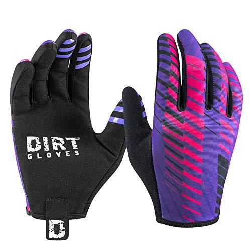 Dirt Gloves Mountain Bike Gloves MTB Bicycle Enduro Downhill XC Cycling Sports Full Finger (Large, Huck Purple)