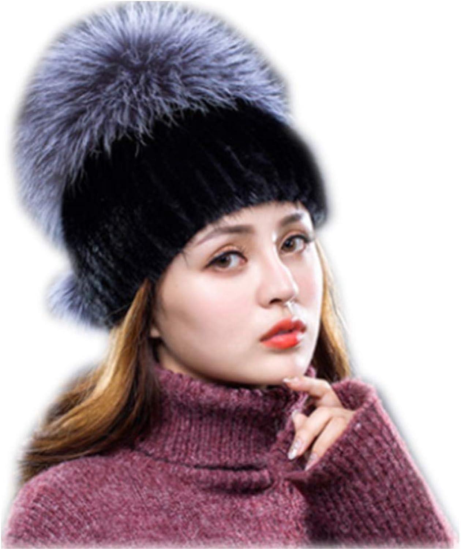 MH Bailment Winter New Mink Woven hat Fox Fur Grass hat