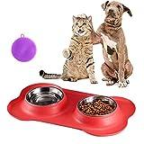 Kaishuai-Comedero para Gatos Perros Mascotas de Acero Inoxidable- Base de Silicona Antideslizante Pecute Cuencos Comedero para Comida y Agua Gato perros accesorios (2x400ML)