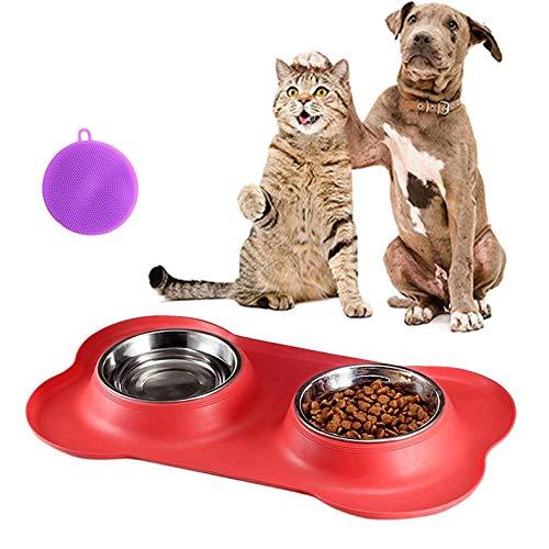 Kaishuai-Ciotole per cani,Pecute Ciotole per Cani Gatti in Acciaio Inox con Tappetino Silicone Antiscivolo- per cani e gatti di piccola e grande taglia,Ciotola di cib