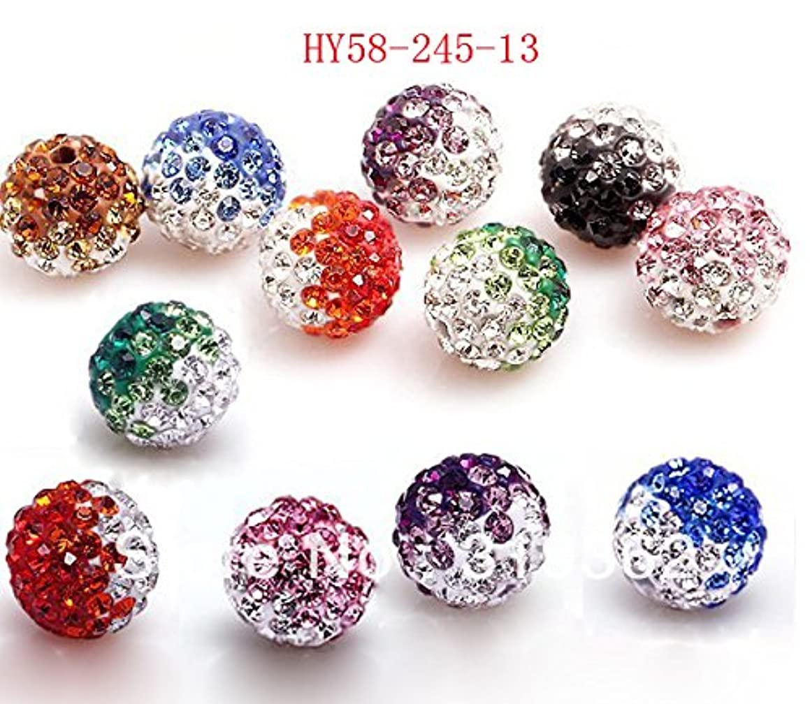 Hybeads 58-470 50pcs/lot Gradient Colorful 10mm Crystal Multi Shamballa Beads Pave Clay Dico Ball for Shamballa Bracelet Necklace