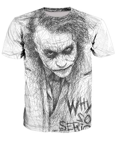 Männer 3D T-Shirt Skizze Clown Heath Ledger Suicide Squad Fußball Team Uniform Muster Digitaldruck Liebhaber Shirt(XL,Weiß)