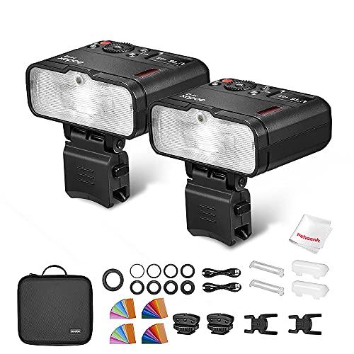 Godox MF12 Macro Flash Kit de 2 Luces, Control inalámbrico de 2,4 GHz, batería de Litio de 3,7 V / 6,29 W, Compatible con Nikon Sony Canon Fuji Olympus y Panasonic, con luz de Modelado
