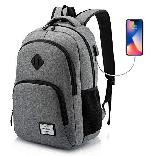 LOSMILE Mochilas Escolares Mochila Portatil para Hombre Juveniles con Puerto de Carga USB Resistente Al Agua Bolsa de Viaje Trabajo Daypacks 15.6 Pulgada (Gris)