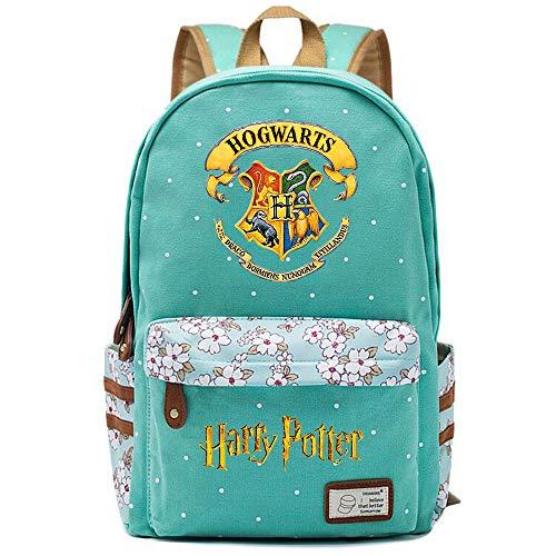 NYLY Mochila Hogwarts,Joven Estudiante Bolsa para la Escuela, niña Flores Backpack Bolsa para portátil Unisexo (Estilo D) L Verde Claro