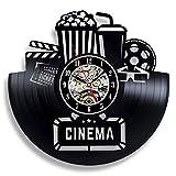 wtnhz LED Reloj de Pared de Vinilo Colorido Reloj de Pared con Disco de Vinilo de Cine, diseño Moderno, Director Nocturno de película, gramófono, Pegatina 3D, Reloj de Vinilo, Reloj de Pared, Deco