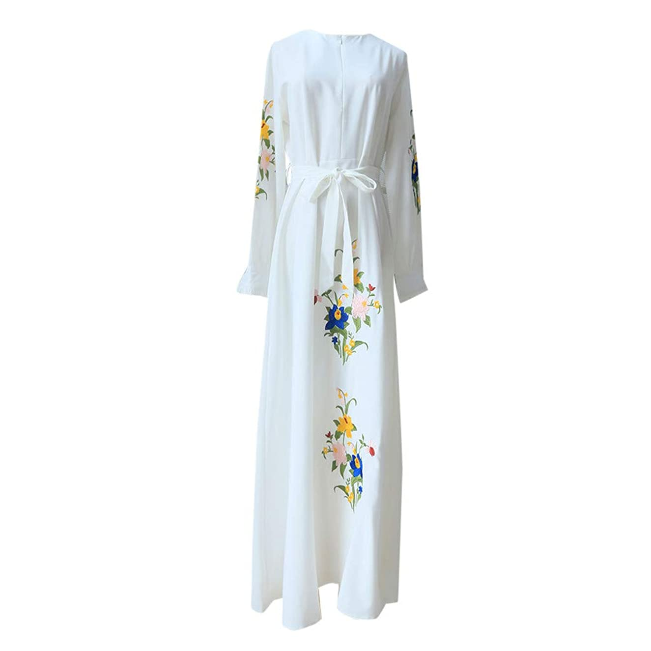 Women Long Maxi Dress Retro Ethnic Style Floral Print Embroidery High Waist High Low Hem Pleated Slim Fit Flowy Swing Dress (XXL, White)