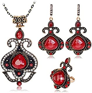 Antique Style Gold Plated Resin Unique Necklace Ring Earrings Jewelry Set