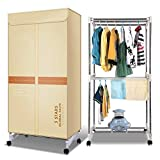 Electric Portable Clothes Dryer Warm Air Drying Wardrobe Indoor Laundry Drying Rack Folding Clothing Heater 1000W 2-Tier Automatic Timer 180min,Yellow