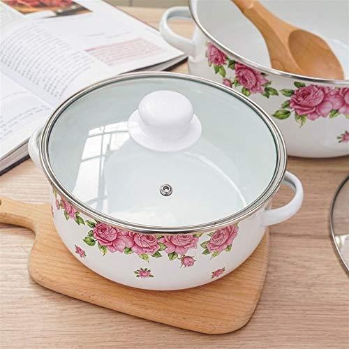 NO LOGO JNT- Émail marmite à Soupe Plat Cuisinière 2-5L épais Pot avec Couvercle Marmite Batterie de Cuisine à Induction Pot Pot de Soupe Cuisine Casseroles et poêles (Couleur : 26cm 5.6L)