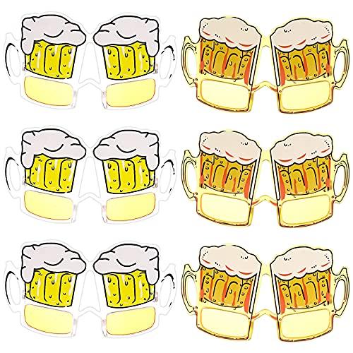 Vergissmeinnicht 6 gafas divertidas para Oktoberfest para fiesta de cerveza, vasos amarillos de cerveza, jarra de cerveza, vasos transparentes, accesorios para fotos para Oktoberfest