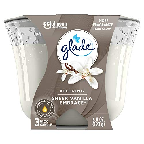 Glade Candle Sheer Vanilla Embrace, Fragrance Candle Infused With Essential Oils, Air Freshener Candle, 3-Wick Candle, 6.8oz