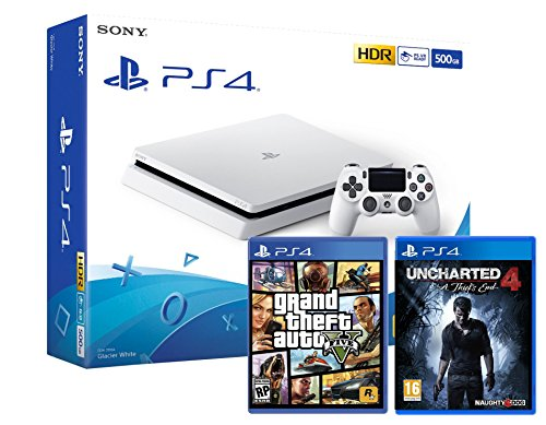 PS4 Slim 500Go Blanche Playstation 4 + Uncharted 4 : A Thief's End + GTA V Grand Theft Auto 5