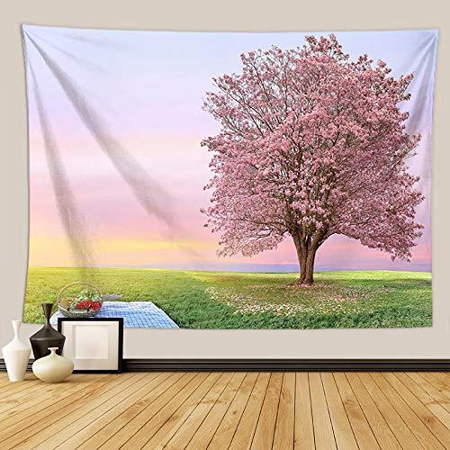 KHKJ Flores de Cerezo fantasía Tapiz Colgante de Pared Hippie Dormitorio decoración psicodélico Tapiz de Pared macramé Mandala Tapiz A5 150x200cm