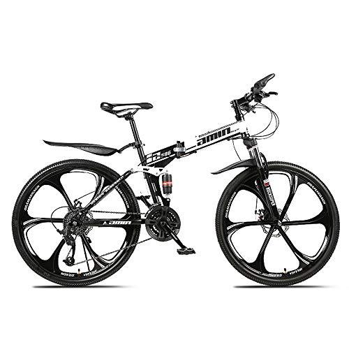 26 Zoll Mountainbike, Scheibenbremsen Hardtail MTB, Trekkingrad Herren Bike Mädchen-Fahrrad, Vollfederung Mountain Bike, 27 Speed,Weiß,Six cutter wheel