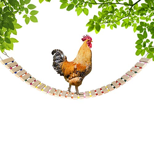 Vehomy Chicken Coop Toy Chicken Toys for Hens Natural Wood Chicken Ladder Chicken Swing Chicken Perch for Birds Poultry Rooster Chicks L