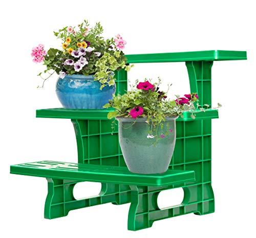 UPP Dekorative Pflanztreppe für Balkon Terasse oder Garten | Blumenbank als Platzsparer für Blumen & Kräuter | Wetterfest und langlebig [3-stufig]