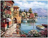 子供と大人のためのDIY油絵の数字でペイント美しい風景40x50cmフレームなし家の装飾フレームレス
