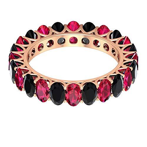 Rosec Jewels 10 quilates oro rosa ovalada Red Black Ruby Espinela negra