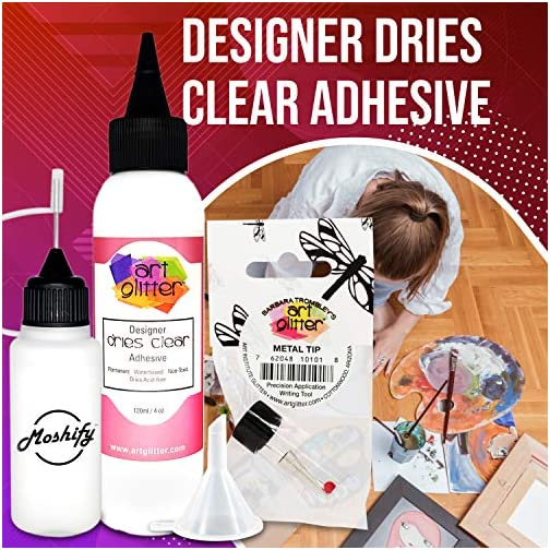 Art Glitter Glue - 4oz with Ultra Fine Metal Tip - Designer Dries Clear Adhesive - Bundled with Moshify 20mL Applicator… |