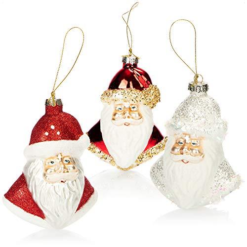 com-four 3X Decoraciones árbol de Navidad - Papá Noel de Vidrio Real para la decoración de Navidad - Colgantes de árbol de Navidad (Santa - 3 Piezas)