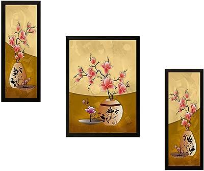 SAF SANFSM6724 Floral UV Digital Reprint Painting (14 inch x 22 inch, Multicolour) -Set of 3