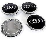 IGGY 4 Stück Nabenkappen kompatibel Schwarz 69mm für Audi A1 A3 A4 A5 A6 Q5 TT RS4 Q5 Q7 S4