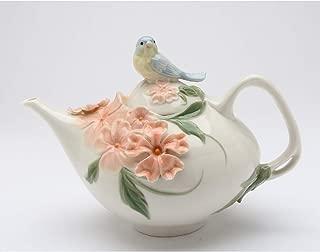 Cosmos Gifts 20906 Blue Bird Apple Blossom Teapot 24 OZ, White