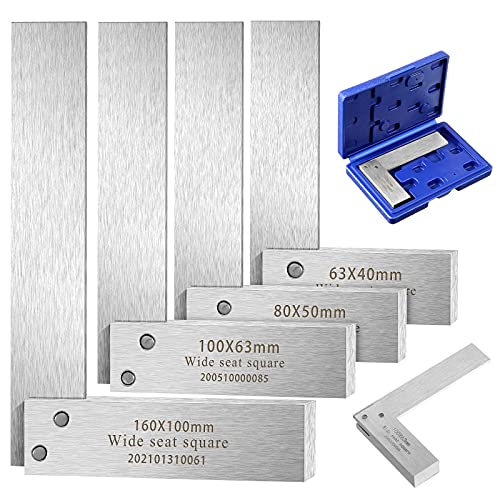 Machinist Square Set, 2, 3, 4 and 6 Squares Machinist Square Mechanical Engineer Steel Square High Precision 90 Degree Wide Base Square Tool L-type Testing Measuring Tool